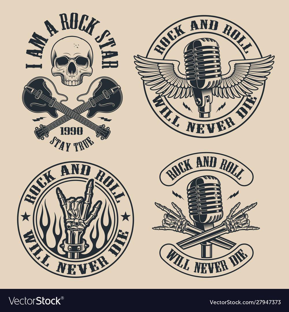 Set vintage rock and roll emblems on dark