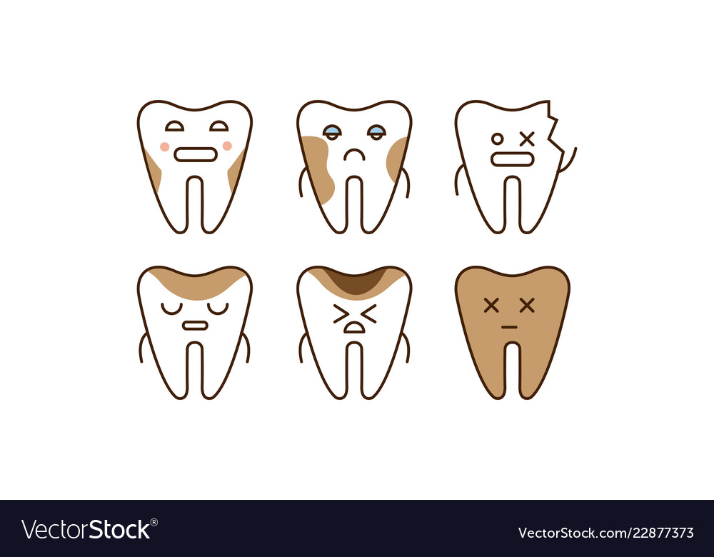 Stomatology and dental line icons set sick teeth