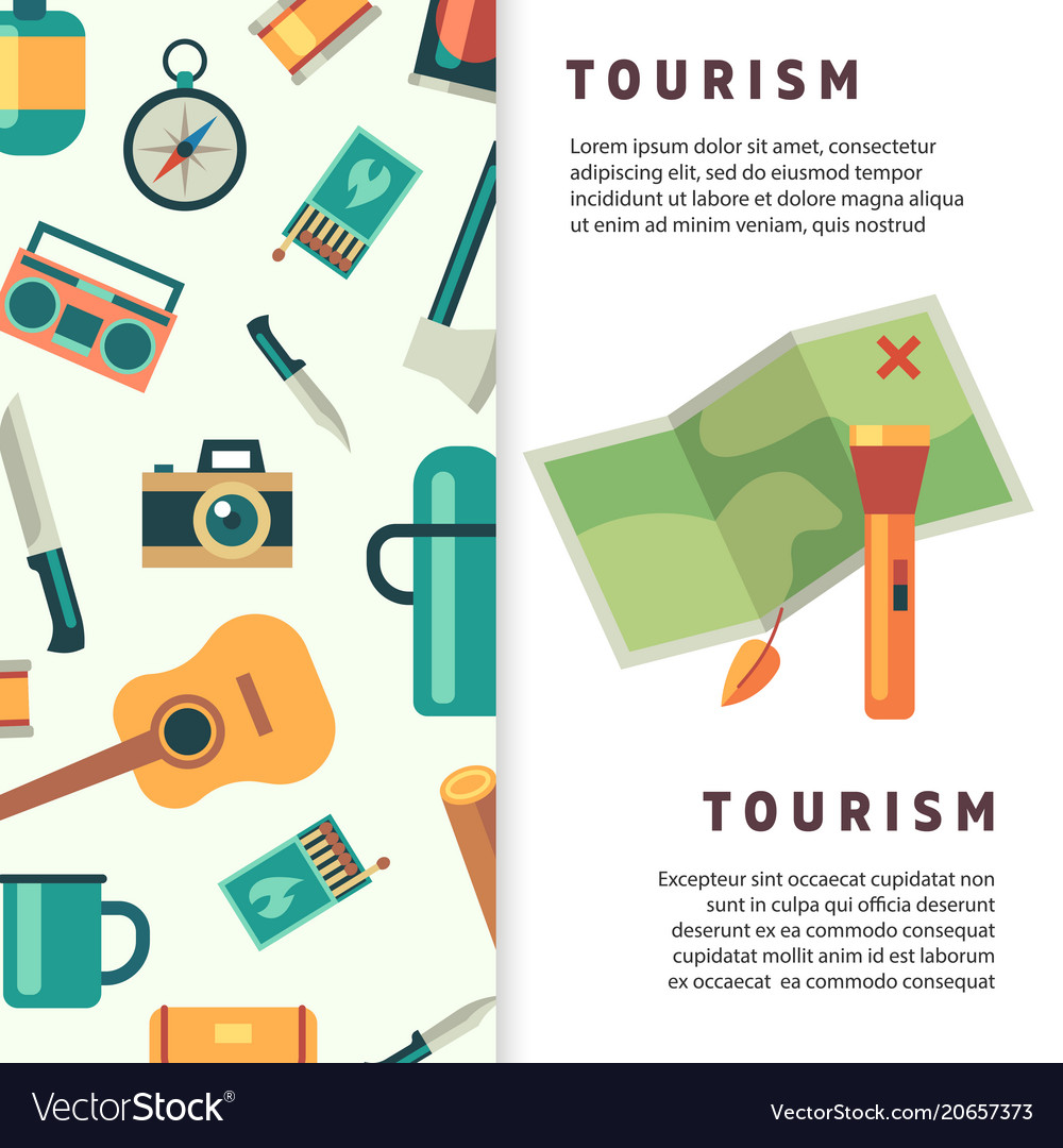 Tourism banner design with flat map and