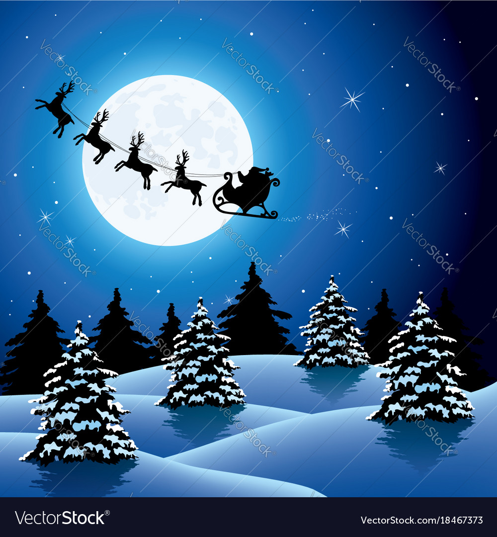 Xmas holiday background with flying santa claus