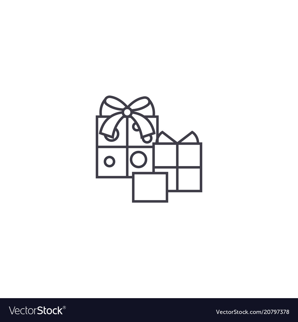 Birthday gifts line icon sign