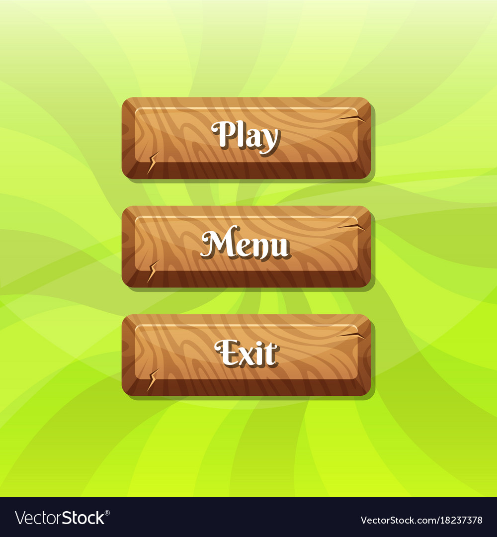 Cartoon style wooden buttons with text for