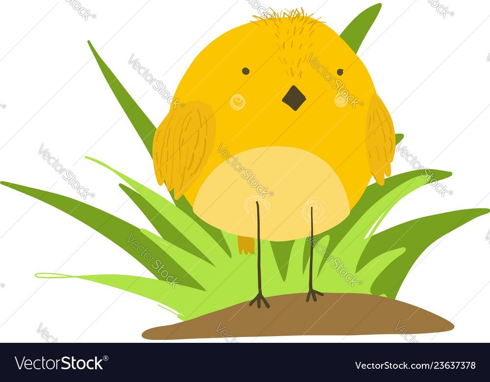 Cute cartoon yellow chicken in grass