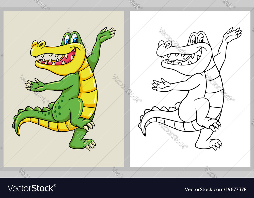 - Dancing Crocodile Cartoon Character Coloring Book Vector Image