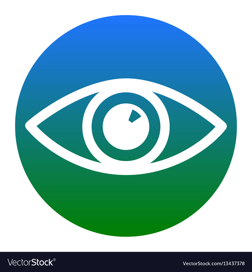 Eye sign white icon in