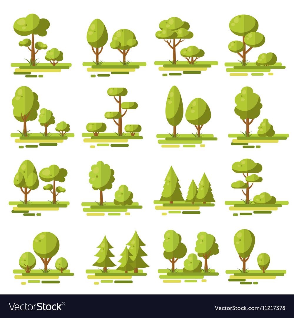 Forest Flat Elements Set vector image