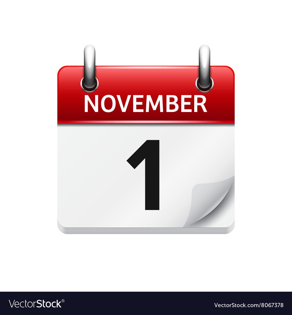 Calendar Date.November 1 Flat Daily Calendar Icon Date