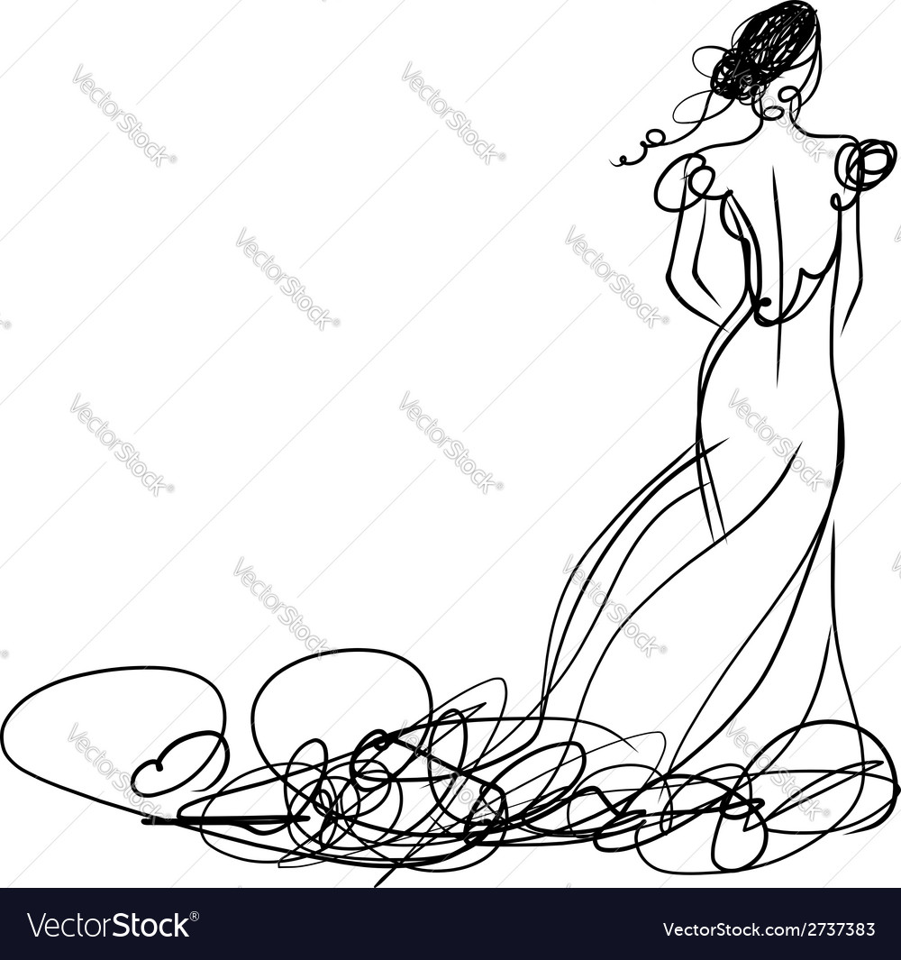 Bride in white dress sketch for your design