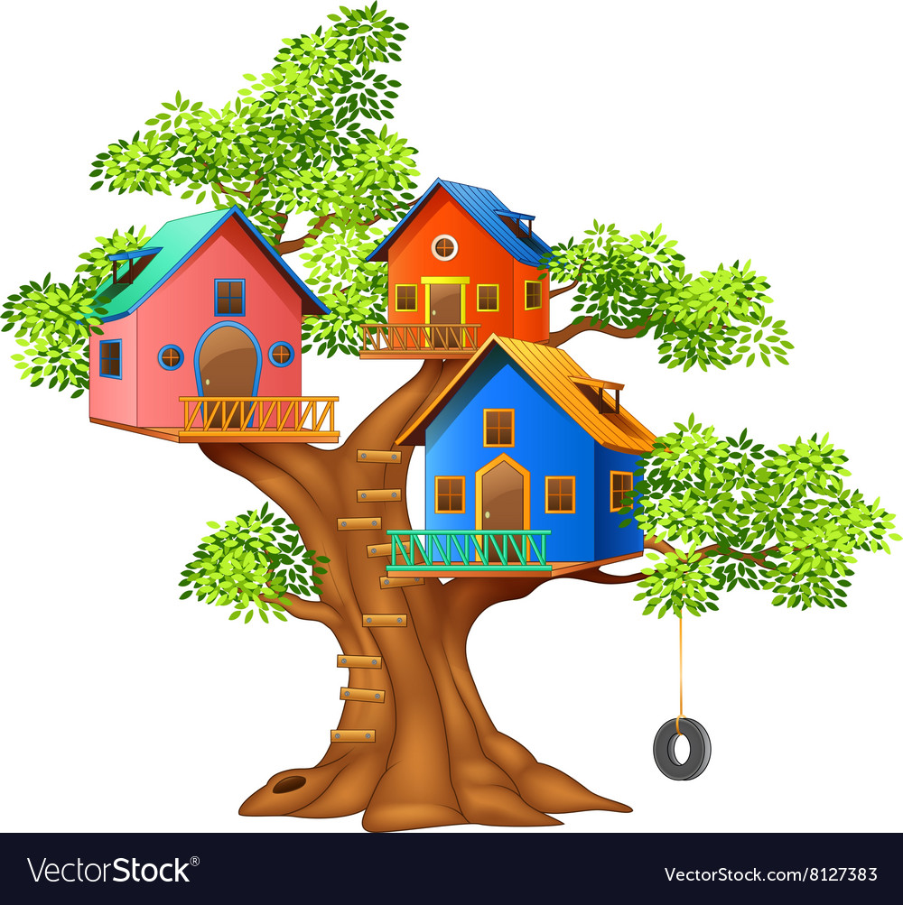 Cartoon of a colorful tree house