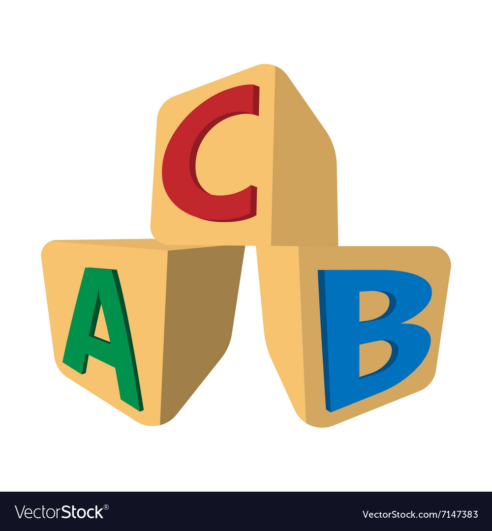 Cubes with letters ABC cartoon icon