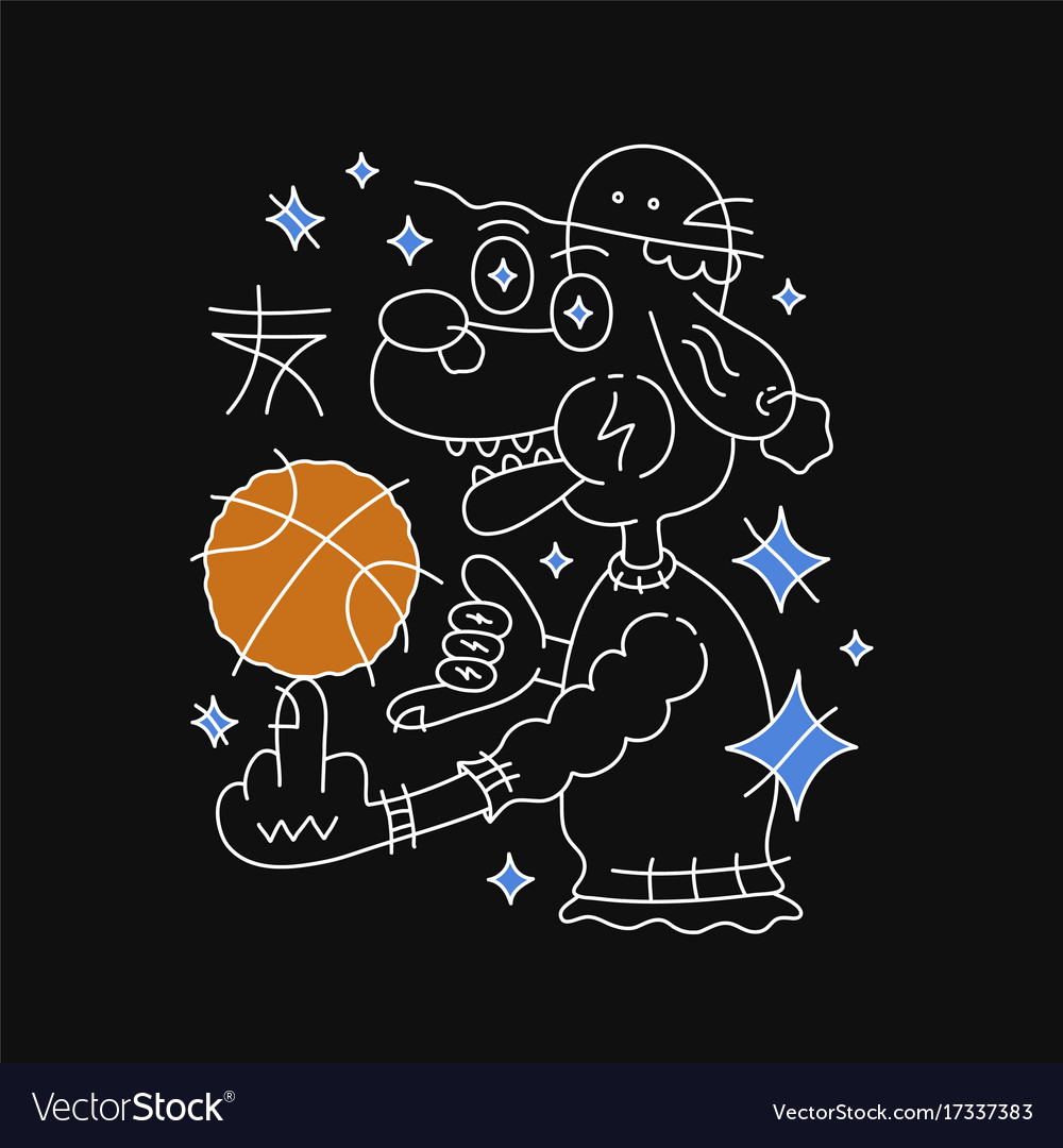 Dog in hat with basketball ball
