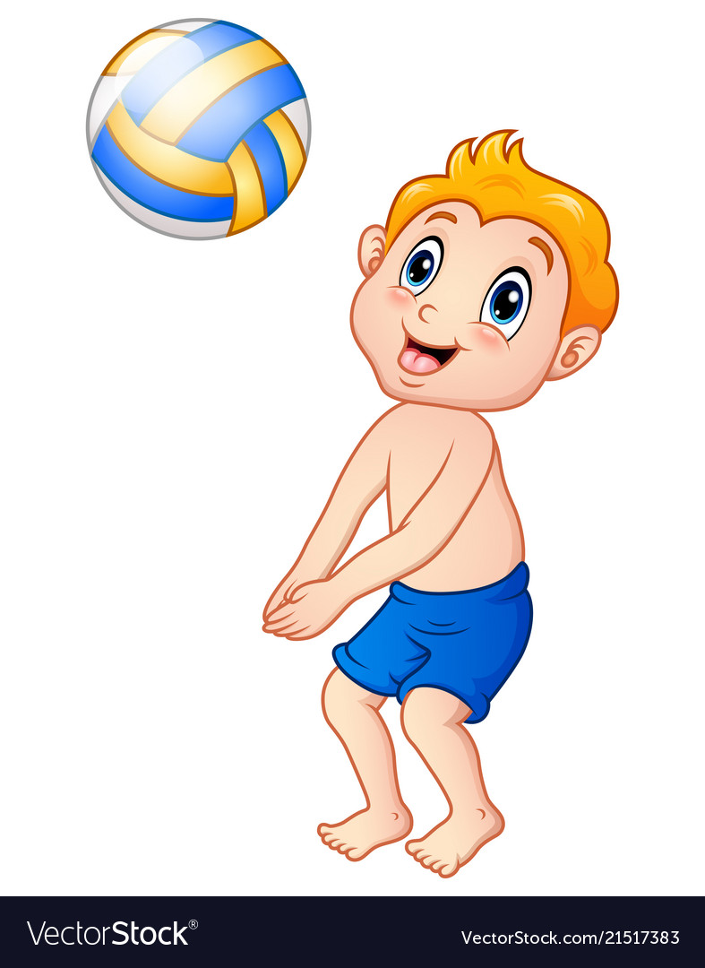 Funny little boy playing beach volley