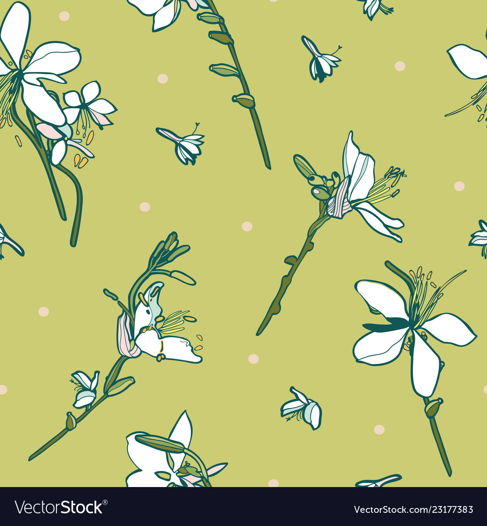 Green floral pattern with lily