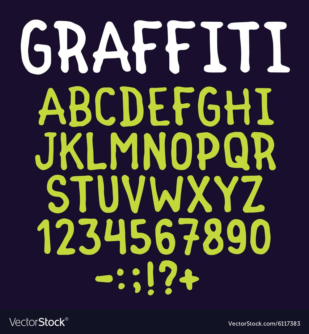 Hand drawn graffiti letters set