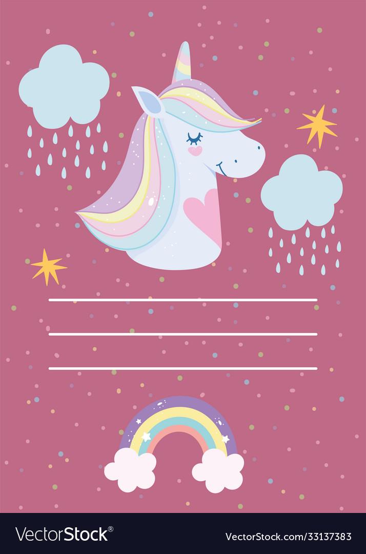 Happy birthday unicorn cartoon rainbow horn hair