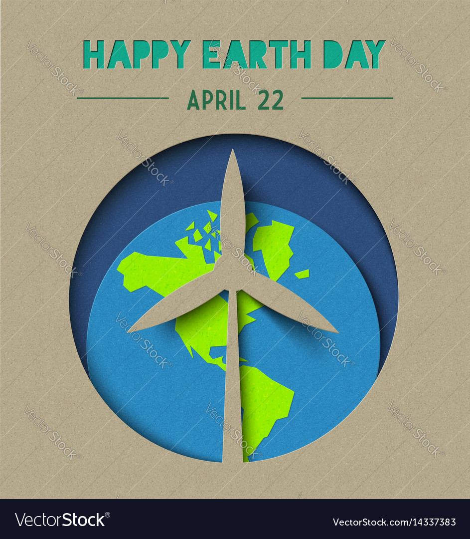 Happy earth day paper cut wind energy