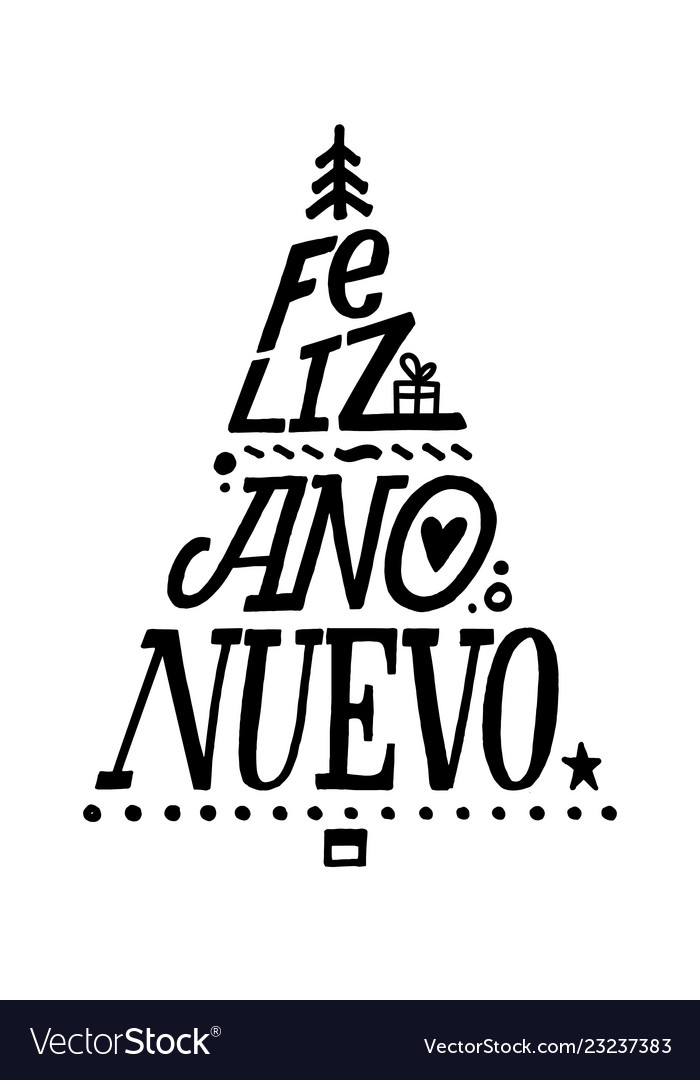 Happy new year stroke spanish calligraphy