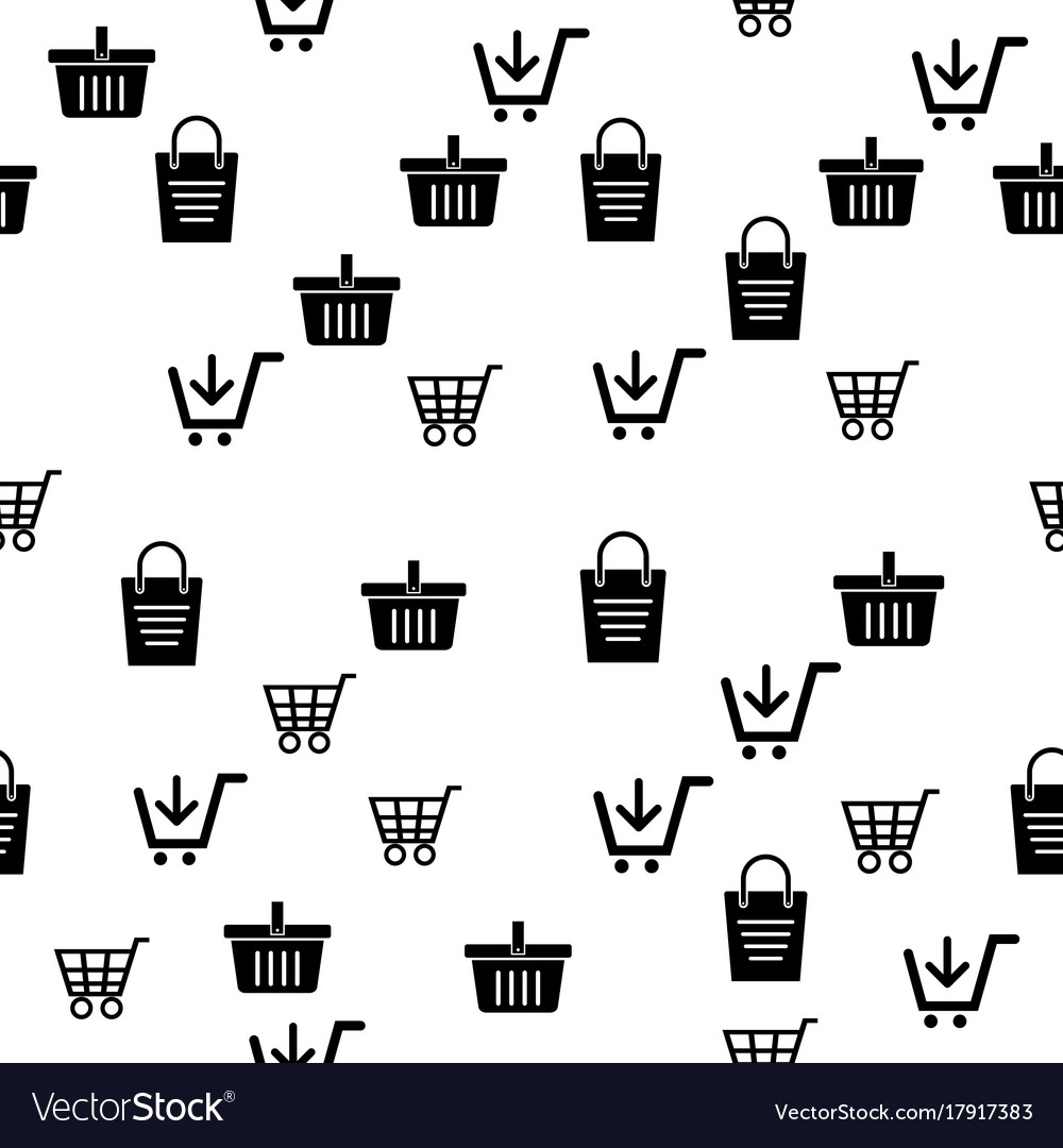 Icon cart and basket pattern background