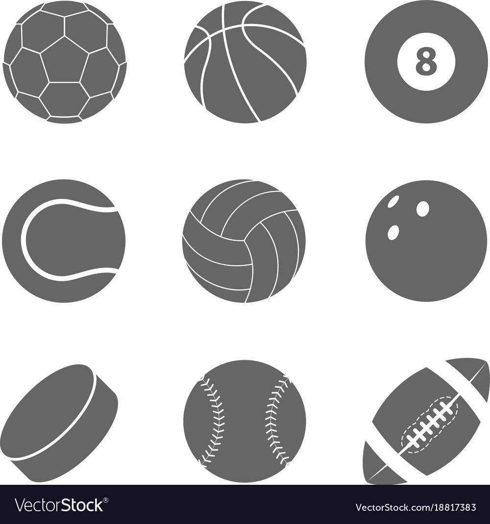 Sports Balls Set Silhouettes Of Balls Royalty Free Vector