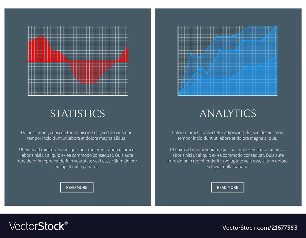 Statistics and analytics in form of graphics set