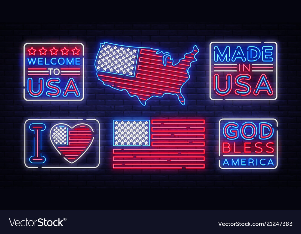 Usa flag badges collection neon sign i