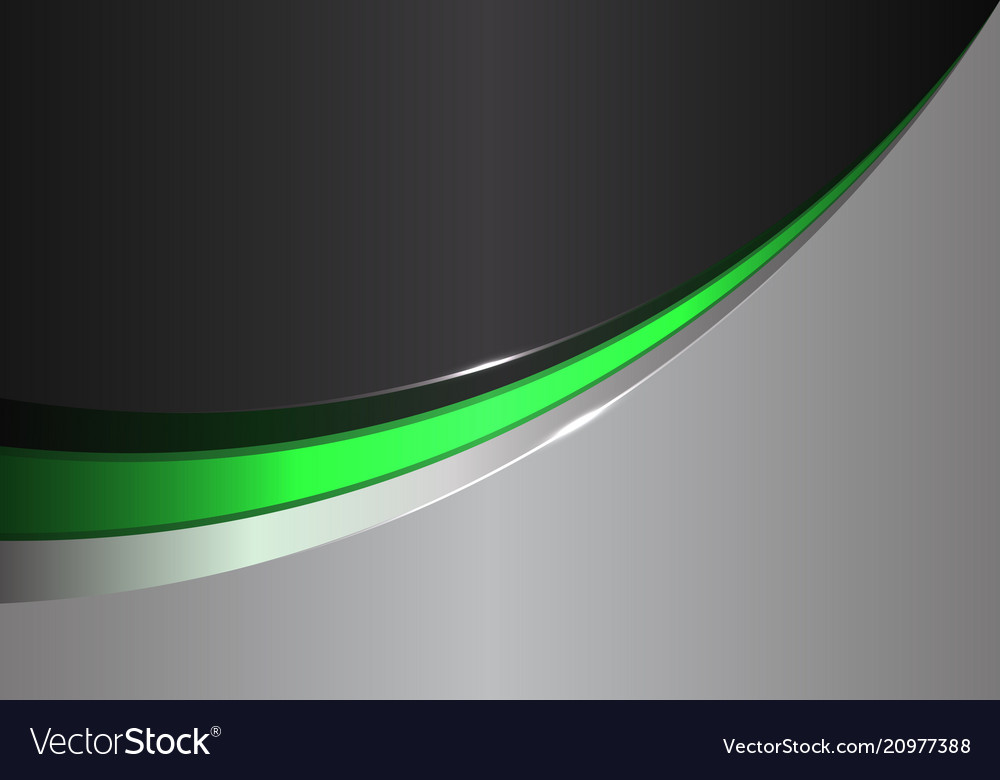 Abstract green line curve on black gray design