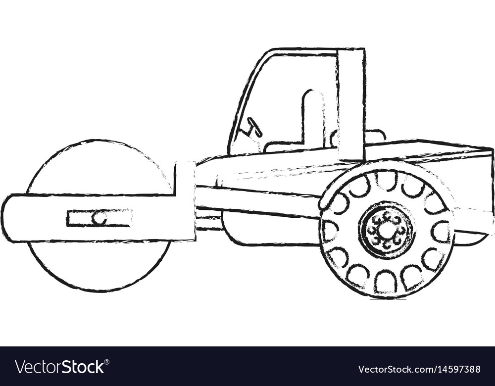 Black blurred silhouette cartoon road roller