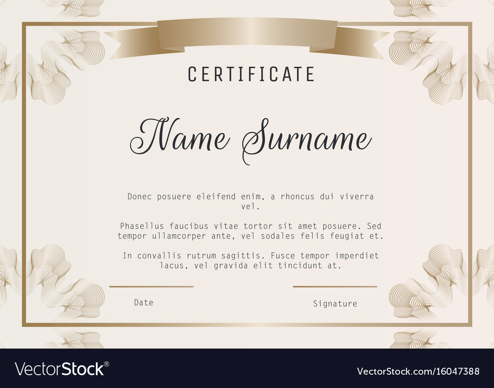 Certificate Diploma Template With Royalty Free Vector Image