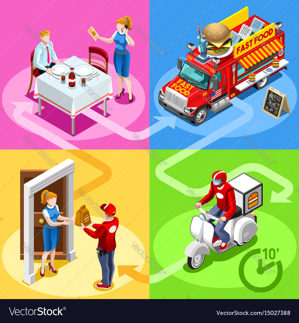 Fast food truck hamburger home delivery isometric vector image