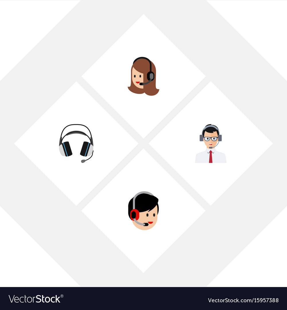 Flat icon telemarketing set of help operator