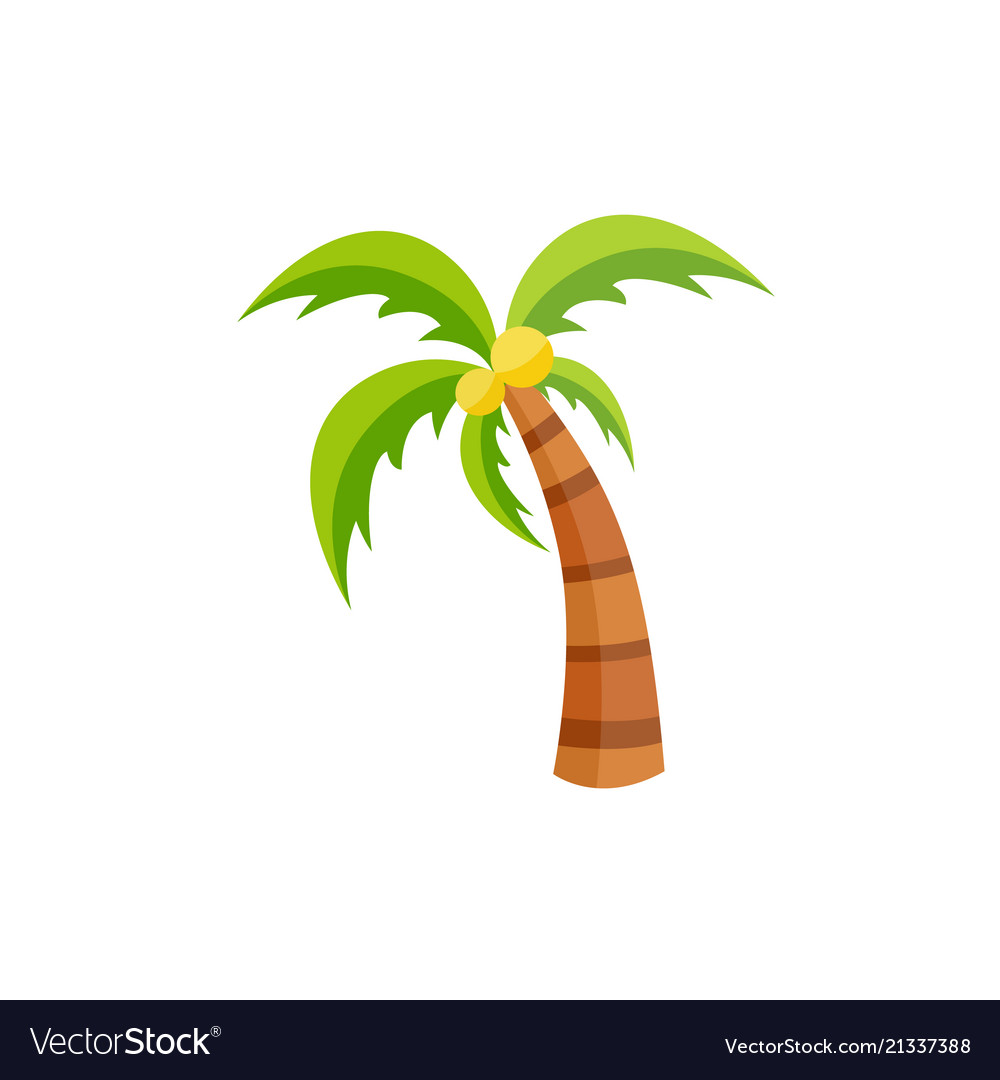 Flat palm tree with coconut icon isolated