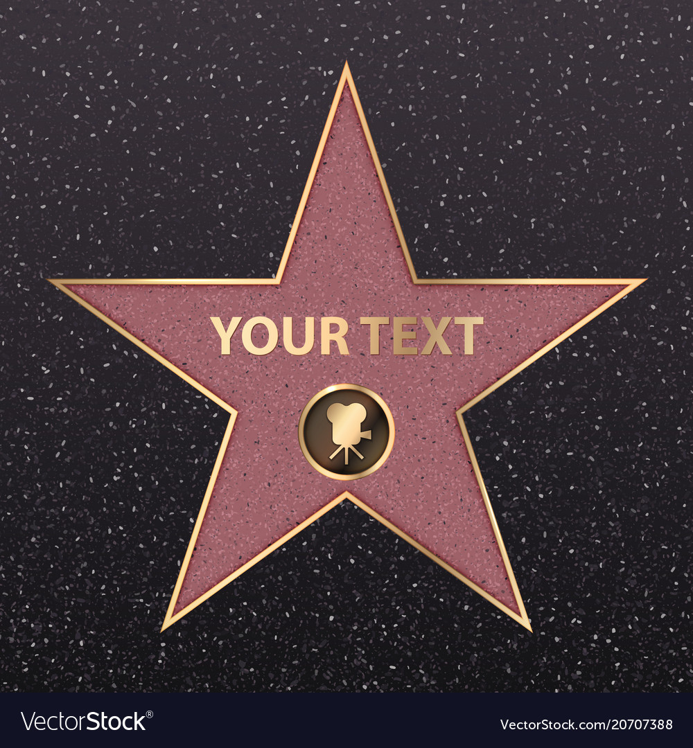 Hollywood star celebrity fame walk golden vector image