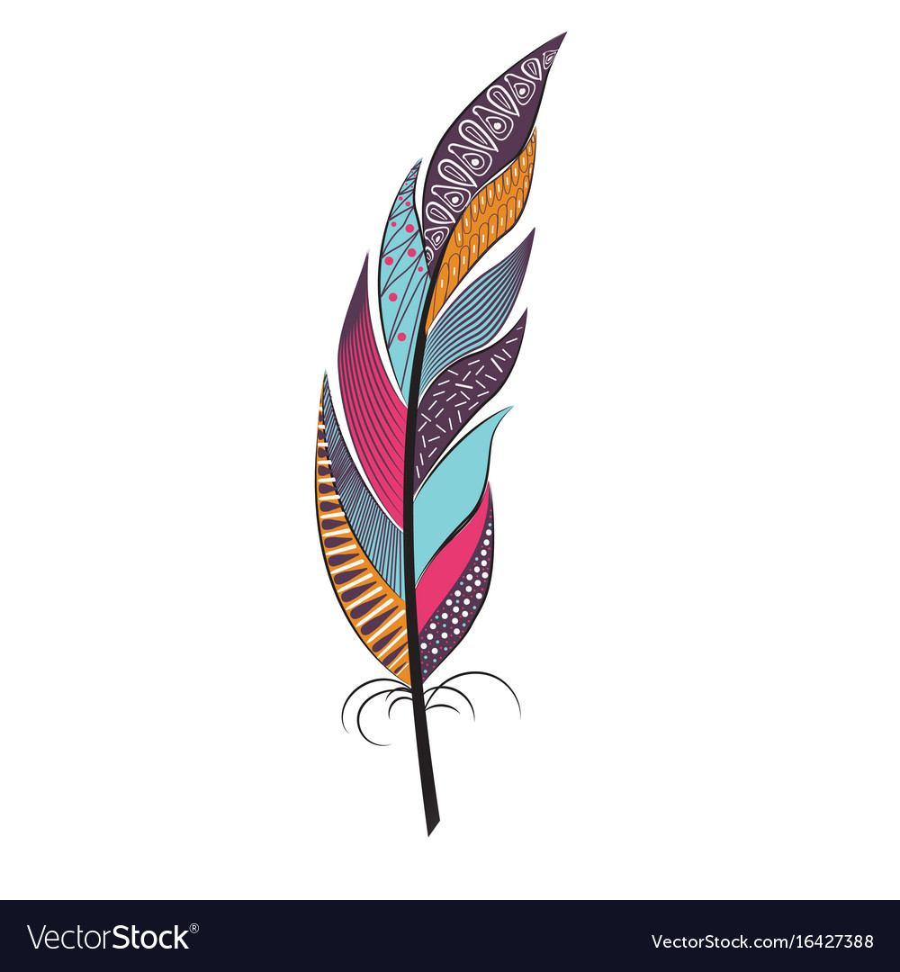 Large colored feather with patterns