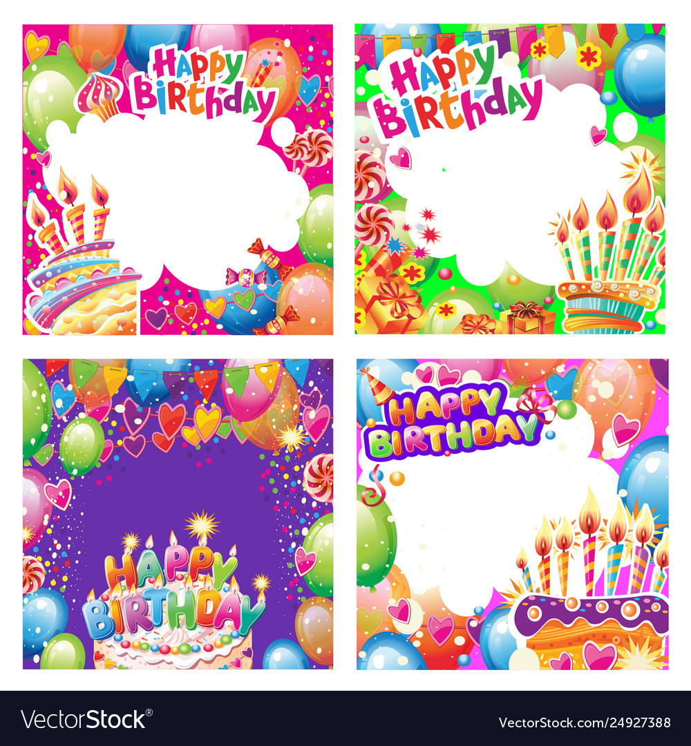 Set birthday cards with place for text