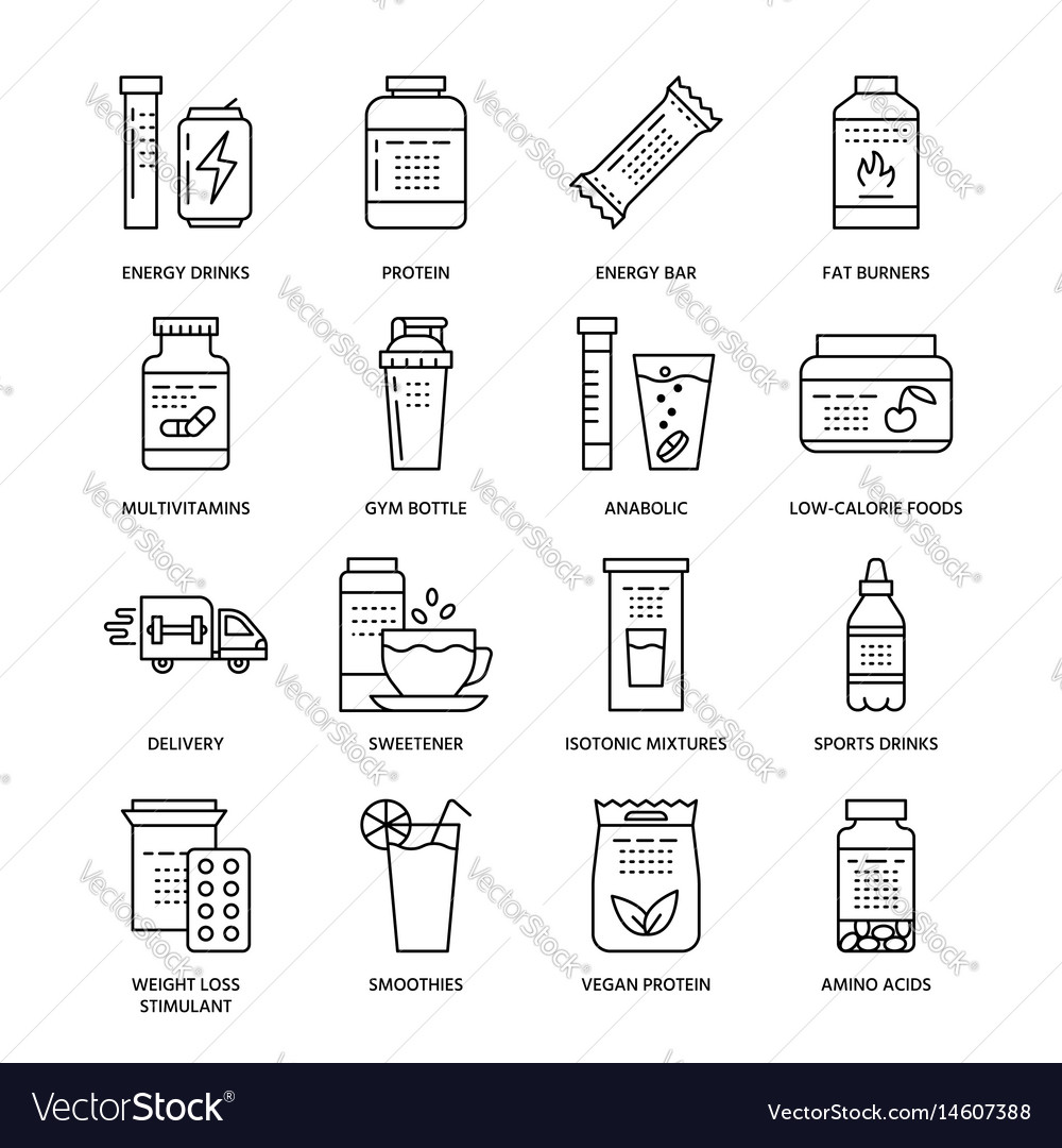 Sport nutrition flat line icons bodybuilding food vector image