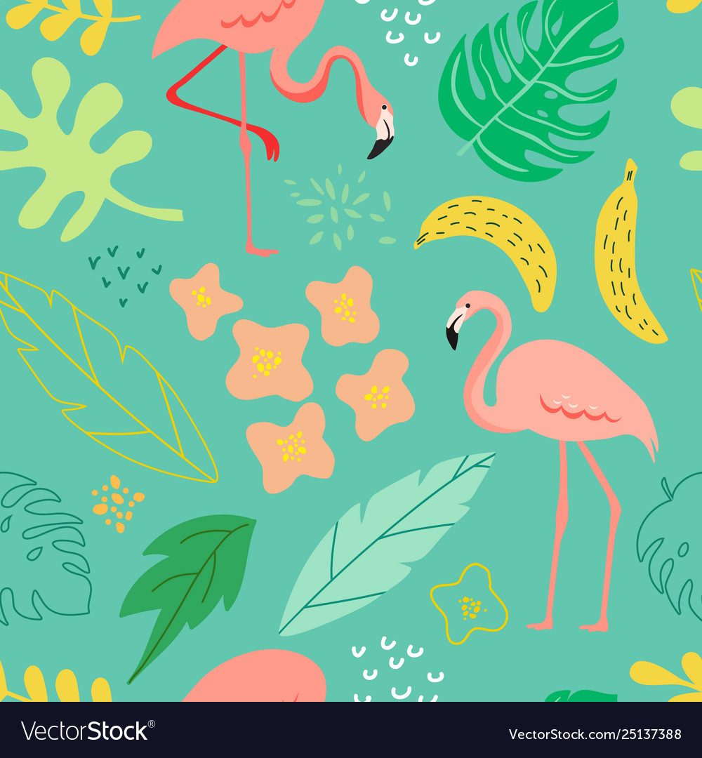 Summer seamless background with flamingo plants