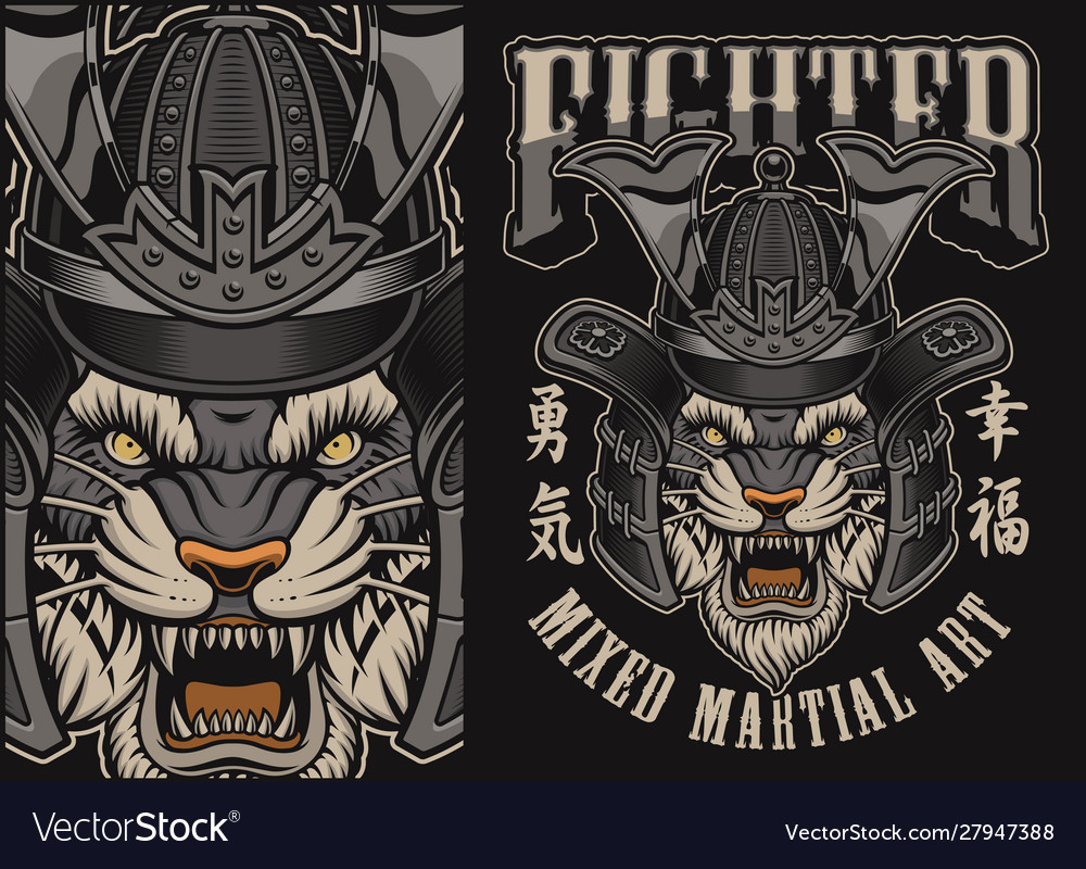 With tiger in a samurai helmet on a black