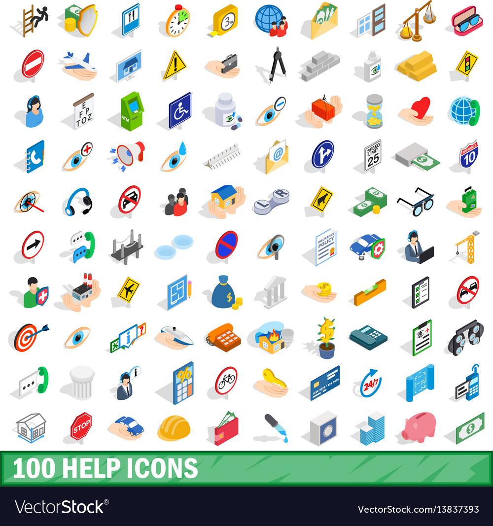 100 help icons set isometric 3d style
