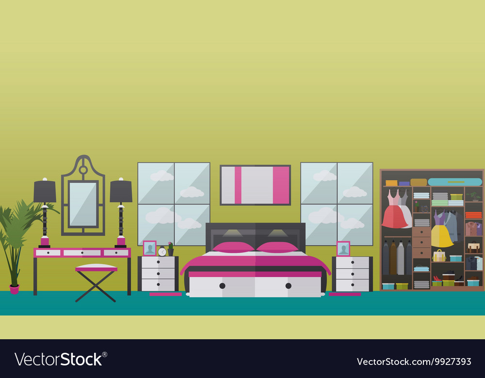 Bedroom interior banners set in flat style