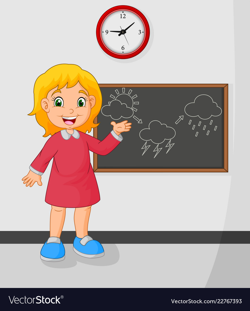 Cartoon young girl standing front blackboard