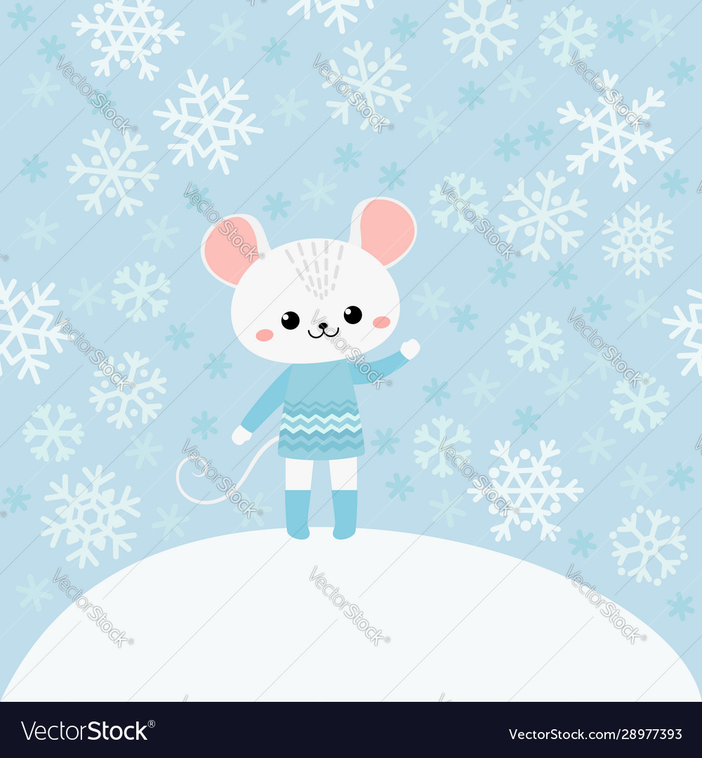 Cute mouse on blue background with snowflakes