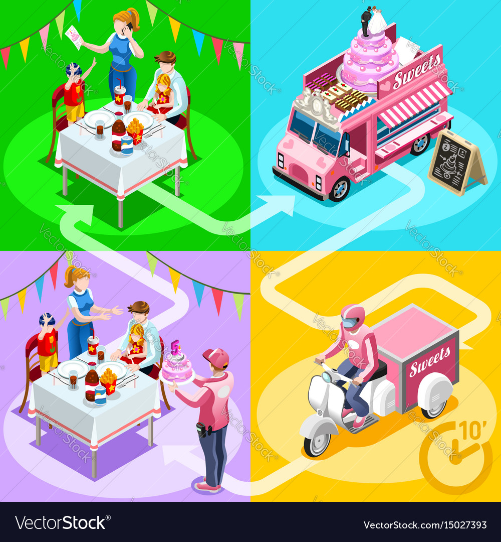 Astounding Food Truck Birthday Cake Home Delivery Isometric Vector Image Personalised Birthday Cards Veneteletsinfo