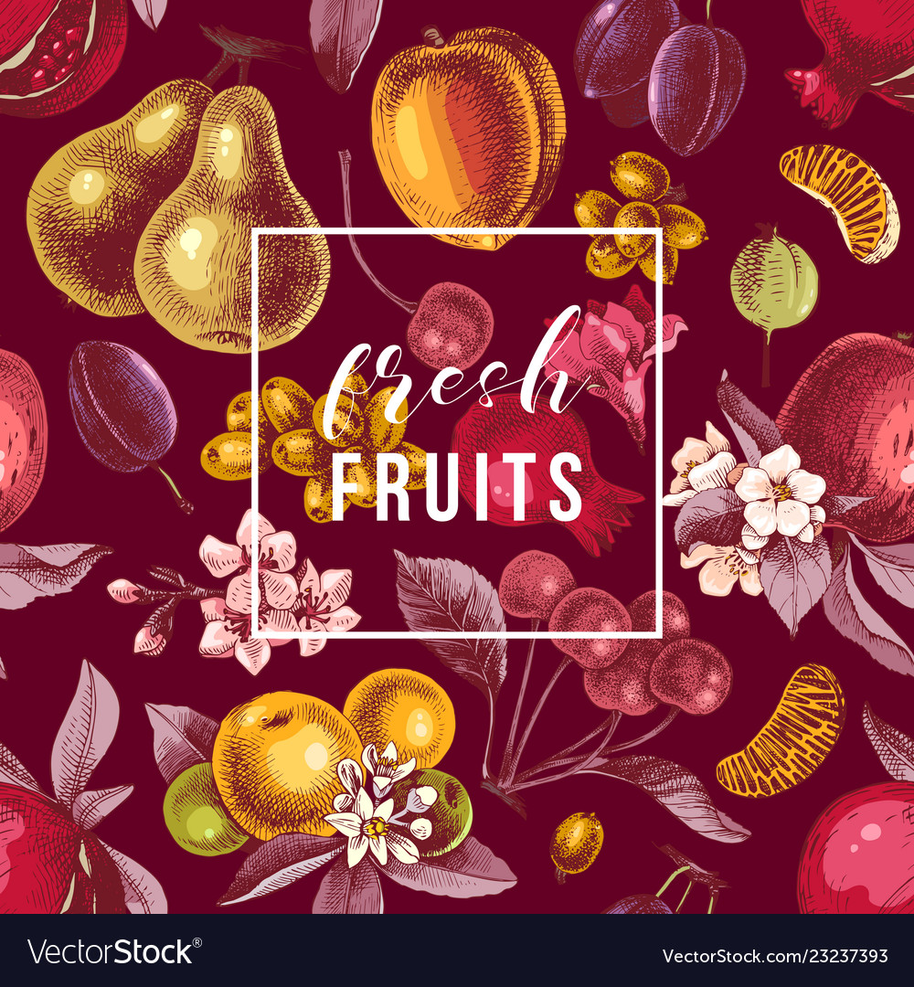 Fresh fruits emblem on seamless pattern with