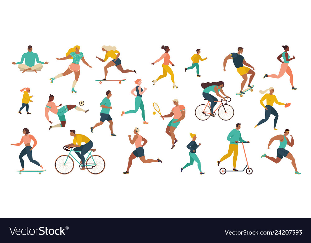 Group people performing sports activities at
