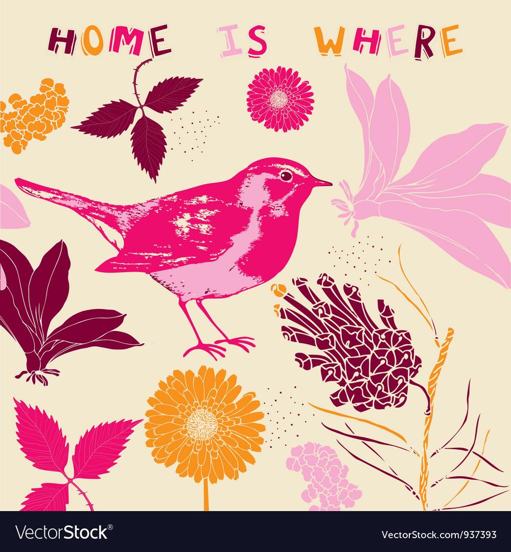 Home Bird Background Pattern vector image
