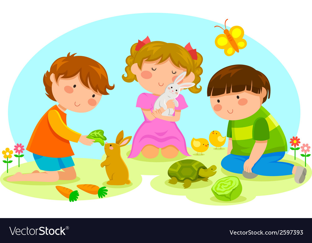 Kids and animals vector image