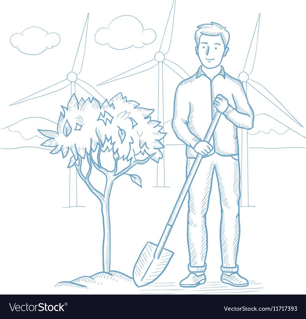 Man Plants Tree Sketch Royalty Free Vector Image