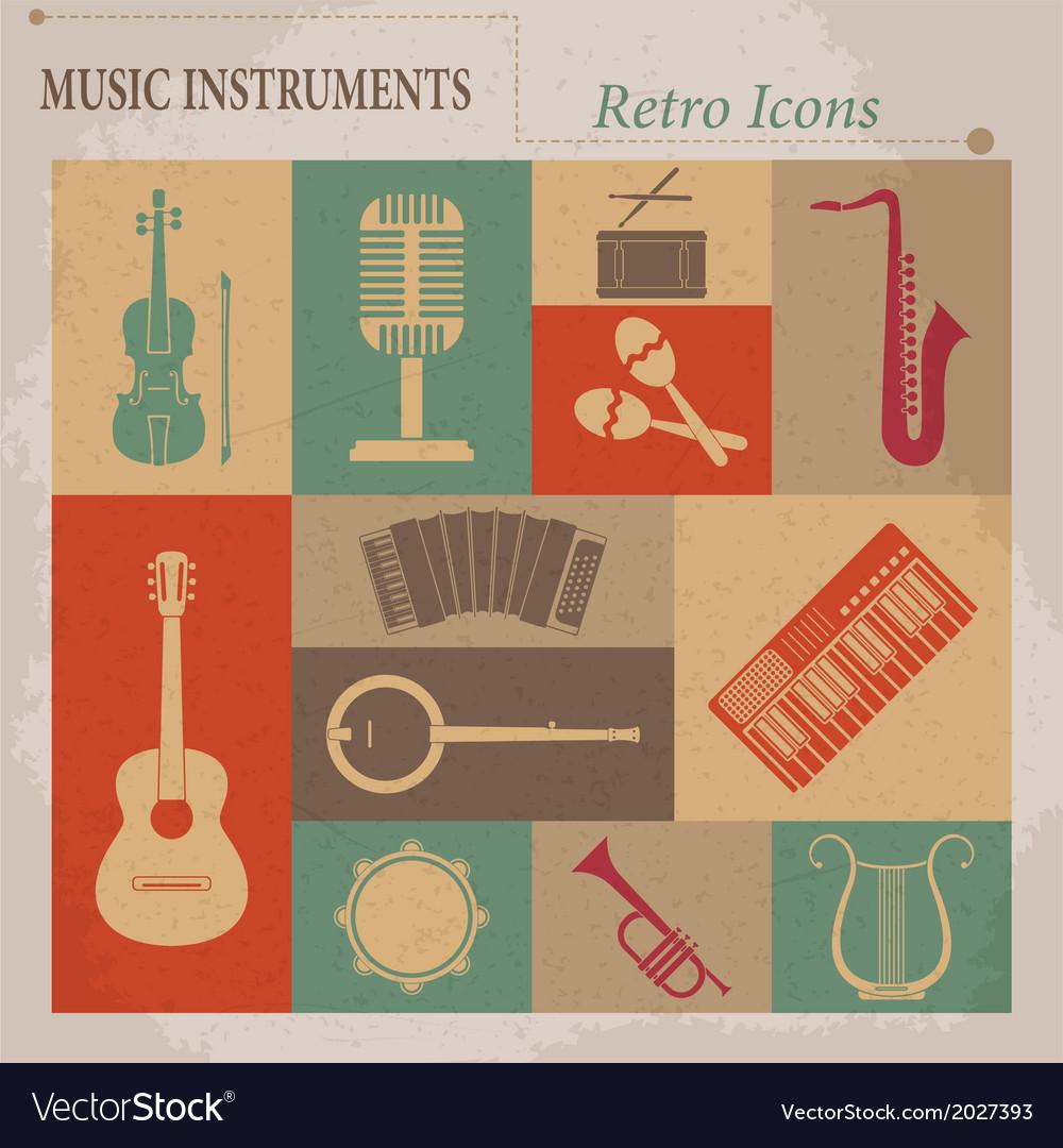 Musical equipment Retro icons