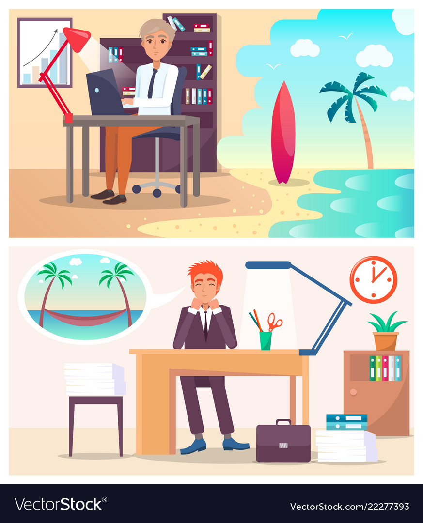 Office workers dream about vacation on island