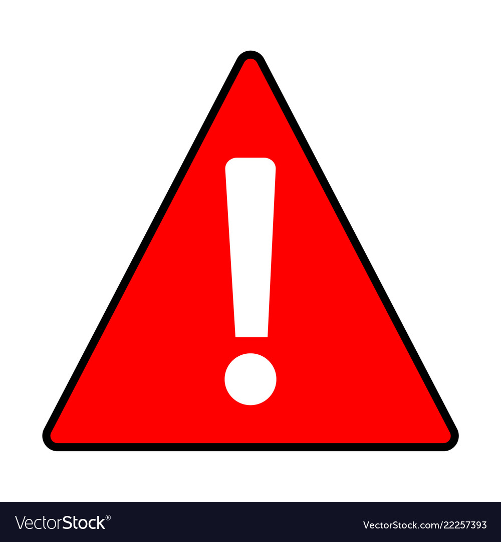 Red warning attention caution sign on white